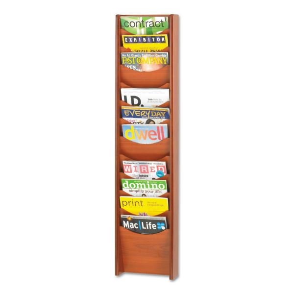 Safco Solid Wood Wall-Mount Literature Display Rack, 12 Pockets, Cherry