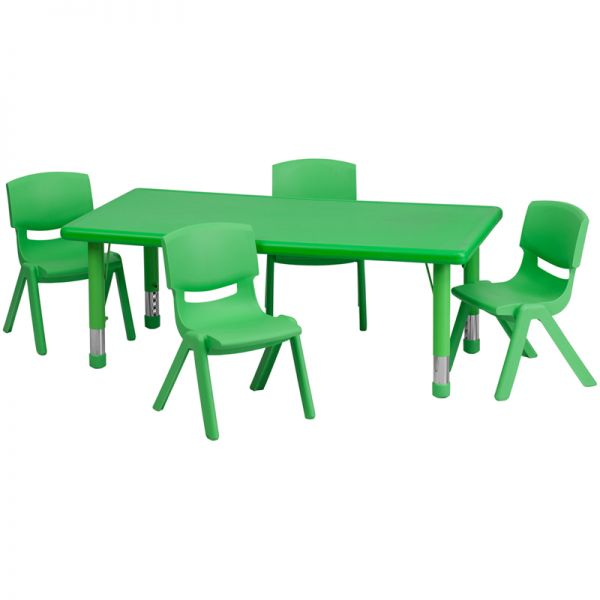 Flash Furniture 24''W x 48''L Adjustable Rectangular Green Plastic Activity Table Set with 4 School Stack Chairs