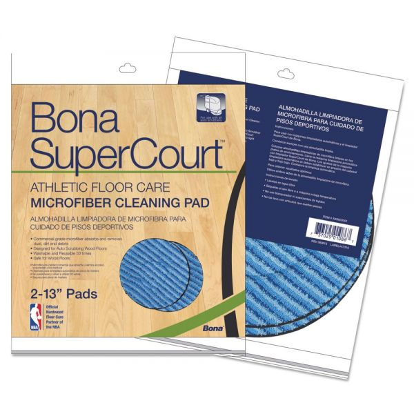 "Bona SuperCourt Athletic Floorcare Microfiber Cleaning Pad, 13"" Dia, Lt/Dk Blue,2/Pk"