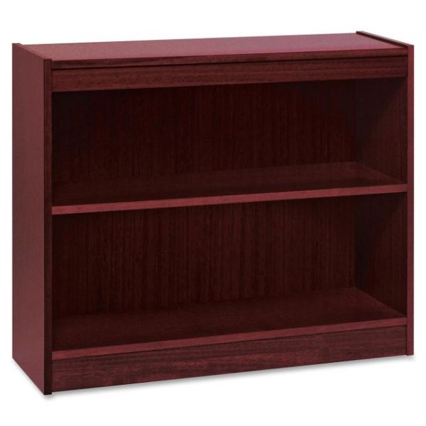 Lorell Panel End 2-Shelf Hardwood Veneer Bookcase