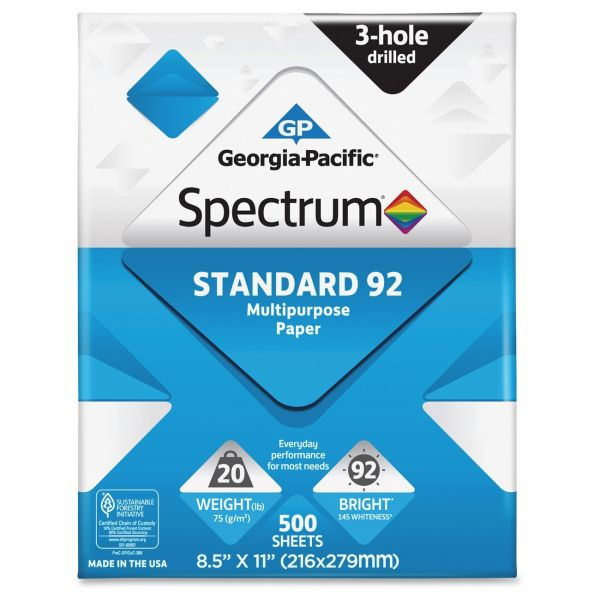 Spectrum Standard 92 Multi-Purpose Three-Hole Punched White Copy Paper