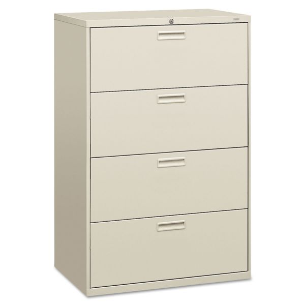 HON 500 Series Four-Drawer Lateral File, 36w x 19-1/4d x 53-1/4h, Light Gray