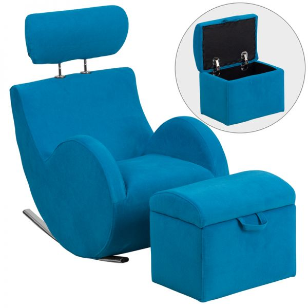 Flash Furniture HERCULES Series Turquoise Blue Fabric Rocking Chair with Storage Ottoman