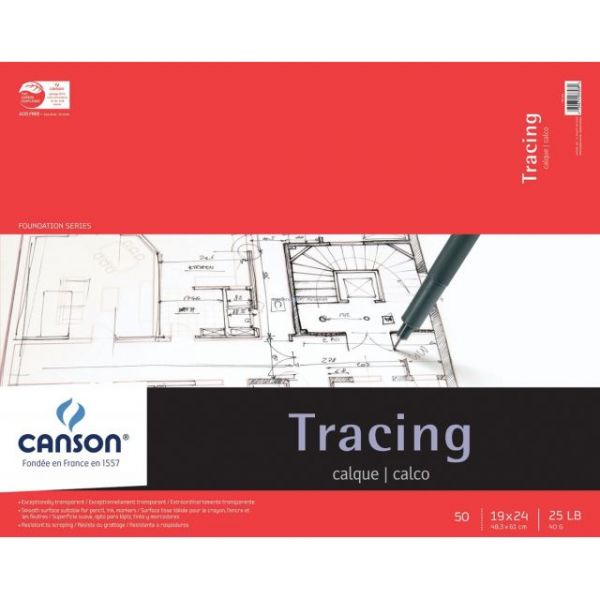 "Canson Foundation Series Tracing Paper Pad 19""X24"""