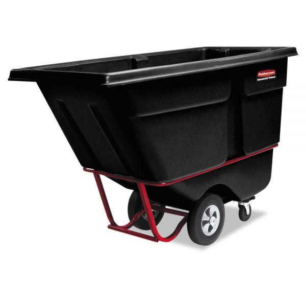 Rubbermaid Commercial Rotomolded Tilt Truck, Rectangular, Plastic, 2100-lb Cap., Black