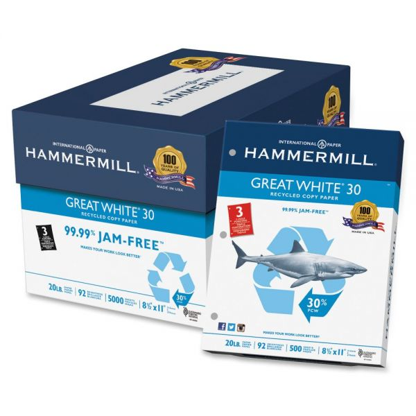 Hammermill Great White 30 Recycled Three-Hole Punched White Copy Paper
