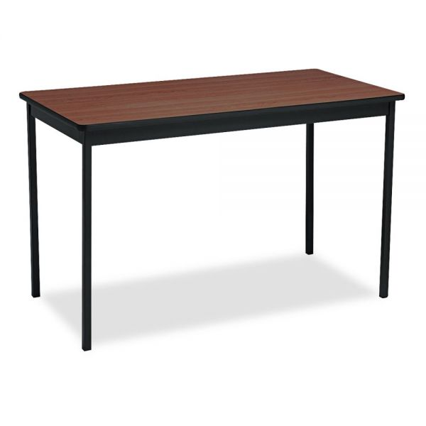 Barricks Utility Table With Steel Legs, Rectangular, 48w x 24d x 30h, Walnut