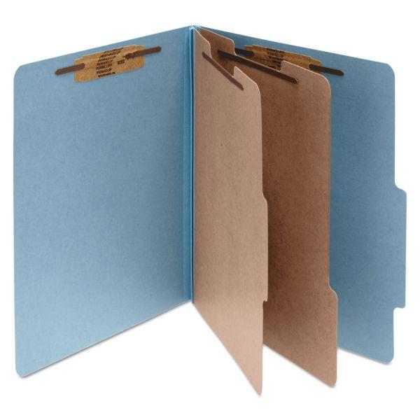ACCO Pressboard 25-Pt Classification Folders, Letter, 6-Section, Sky Blue, 10/Box