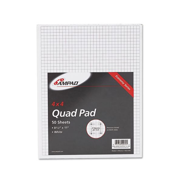Ampad Quadrille Pads, 4 Squares/Inch, 8 1/2 x 11, White, 50 Sheets