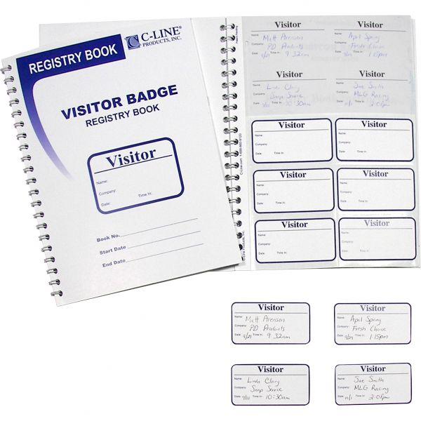C-Line Visitor Self-Adhesive Name Badges with Registry Log