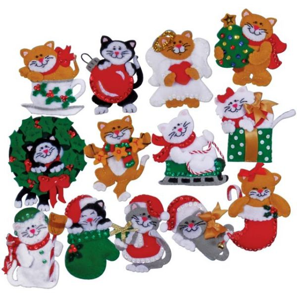 Lots Of Kittens Ornaments Felt Applique Kit