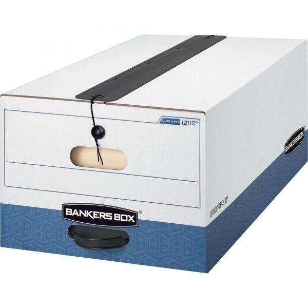 Bankers Box LIBERTY Plus Storage Box, Legal, String/Button, White/Blue, 12/Carton