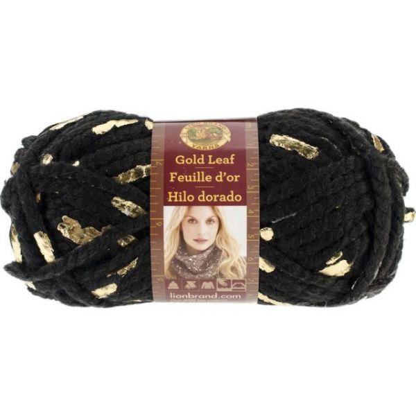 Lion Brand Gold Leaf Yarn - Black/Gold
