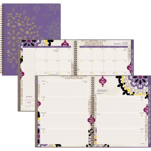 AT-A-GLANCE Vienna Weekly/Monthly Appointment Book, 8 1/2 x 11, Purple, 2018