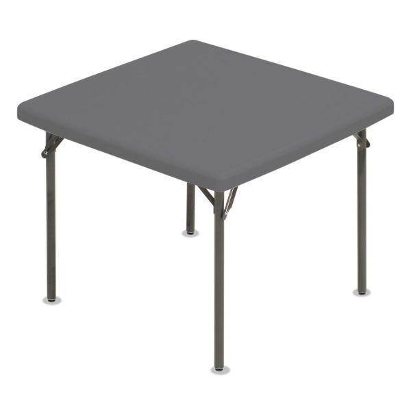 Iceberg IndestrucTables Too 1200 Series Resin Folding Table, 37w x 37d x 29h,  Charcoal