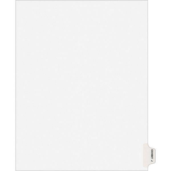 Avery-Style Preprinted Legal Side Tab Divider, Exhibit J, Letter, White, 25/Pack