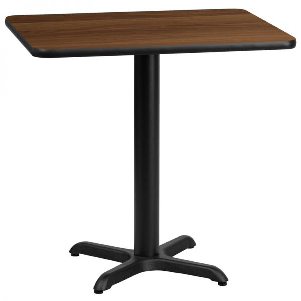 Flash Furniture 24'' x 30'' Rectangular Walnut Laminate Table Top with 22'' x 22'' Table Height Base