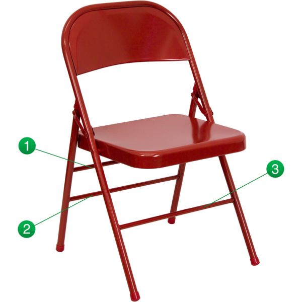 Flash Furniture HERCULES Series Triple Braced & Quad Hinged Red Metal Folding Chair [HF3-MC-309AS-RED-GG]