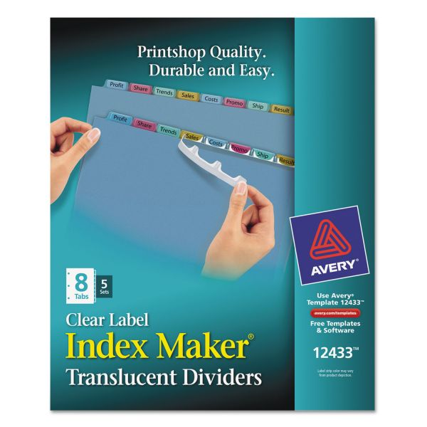 Avery Index Maker Print & Apply Clear Label Plastic Dividers, 8-Tab, Multi-color Tab, Letter, 5 Sets