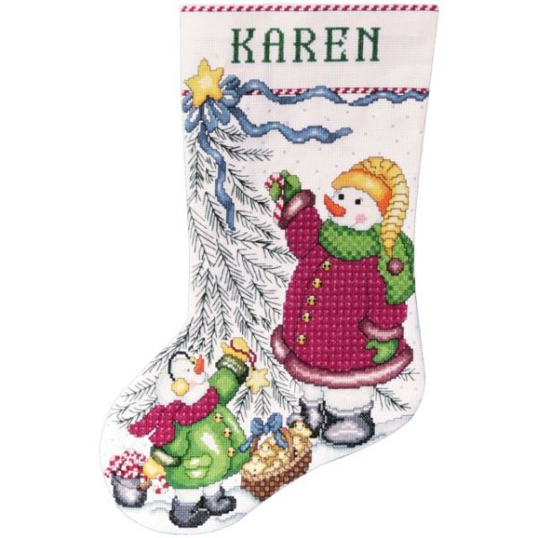 Christmas Tree Snowman Stocking Counted Cross Stitch Kit