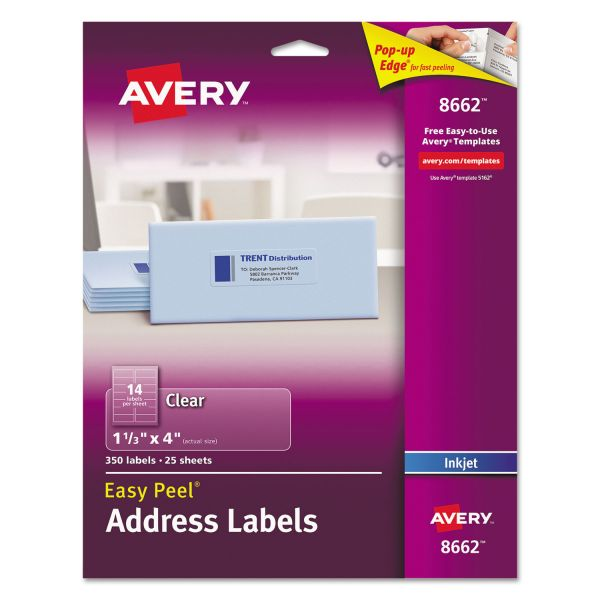 Avery 8662 Easy Peel Clear Address Labels