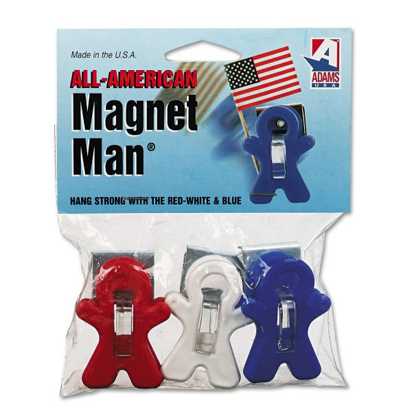 Adams Manufacturing Magnet Man Clip, Plastic, Assorted Colors, 3/pack