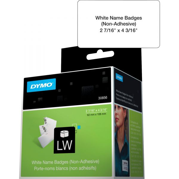 DYMO Name Badge Insert Labels, 2-7/16 x 4-3/16, White, 250/Box