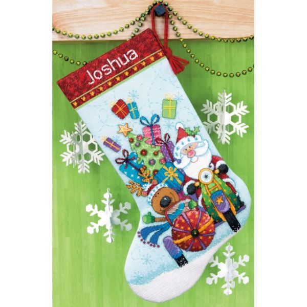 Santa's Sidecar Stocking Counted Cross Stitch Kit
