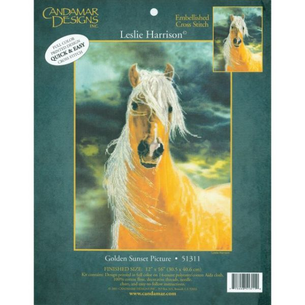 Golden Sunset Horse Embellished Counted Cross Stitch Kit