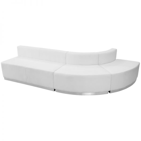 Flash Furniture HERCULES Alon Series White Leather Reception Configuration, 3 Pieces