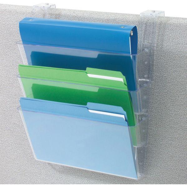 Deflecto Three-Pocket Partition Hanging Wall File Pockets