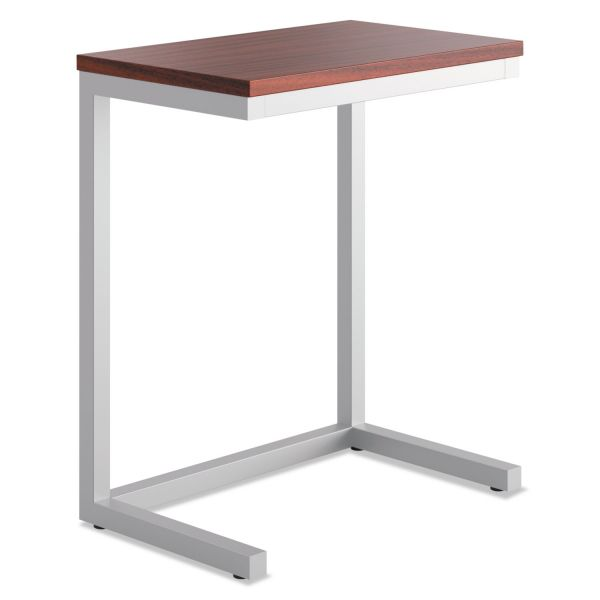basyx Occasional Cantilever Table, 24w x 15d x 20 3/4h, Chestnut/Silver