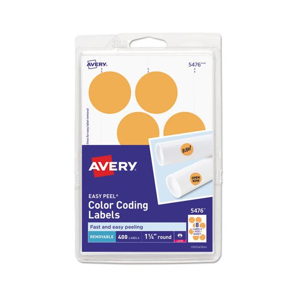 "Avery Printable Removable Color-Coding Labels, 1 1/4"" dia, Neon Orange, 400/Pack"