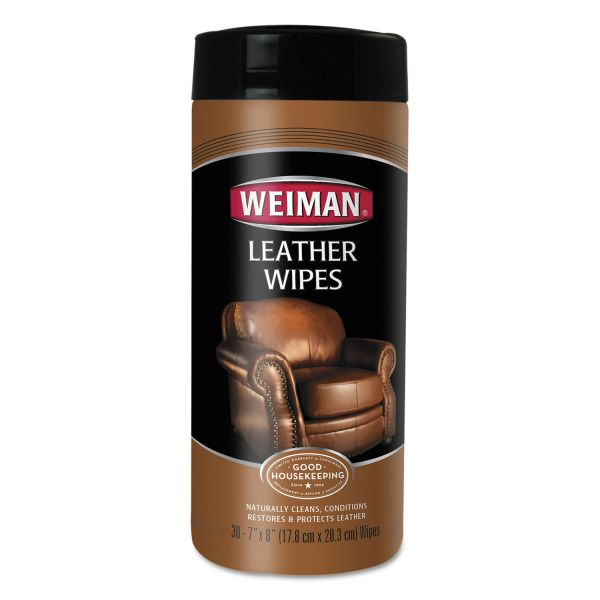 WEIMAN Leather Wipes, 7 x 8, 30/Canister