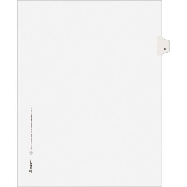 Avery-Style Legal Exhibit Side Tab Divider, Title: 6, Letter, White, 25/Pack