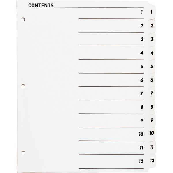 Sparco Quick Index 12-Tab Numbered Dividers With Table Of Contents Page