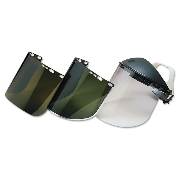 "Jackson Safety* F30 Face Shield Window, 15 1/2"" x 9"", Light Green, Aluminum Bound"