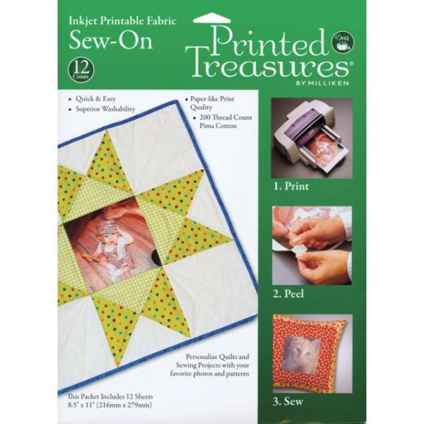 "Printed Treasures Sew-On Ink Jet Fabric Sheets 8.5""X11"" 12/P"