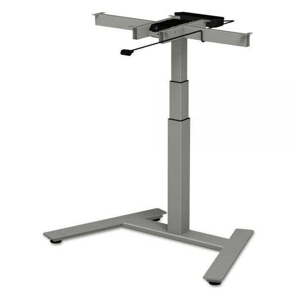 "Alera 3-Stage Single-Column Electric Adjustable Table Base, 24 3/4"" to 43 1/4""H, Gray"