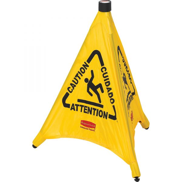 "Rubbermaid ""Caution/Cuidado/Attention"" 3-Sided Safety Cone"