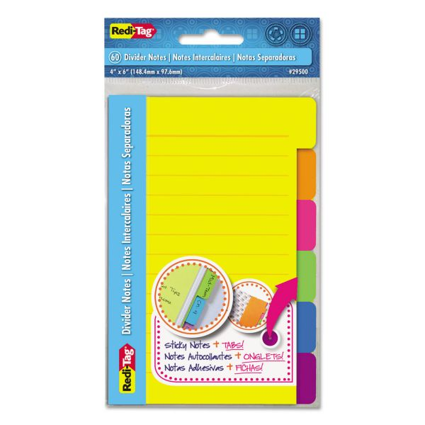 Redi-Tag Ruled/Lined Divider Adhesive Notes