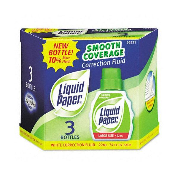 Liquid Paper Liquid Paper Smooth Coverage Correction Fluid, 22ml Bottle, White, 3 per Pack