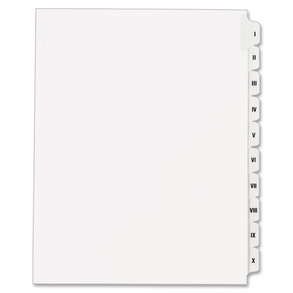 Avery Roman Numeral Tab Index Dividers