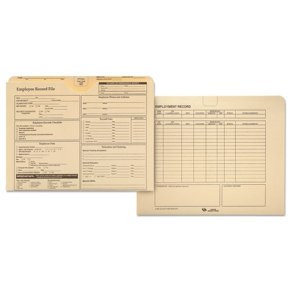 Quality Park Employee Record Folder, Top Tab, Letter, Manila, 20/Pack
