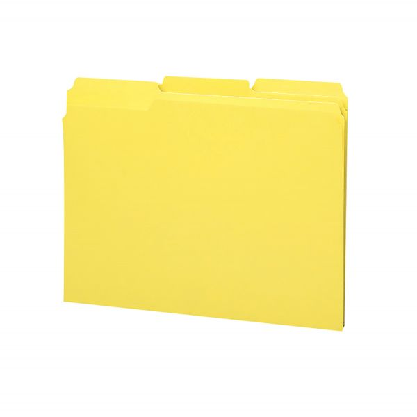 Smead 100% Recycled Yellow Colored File Folders