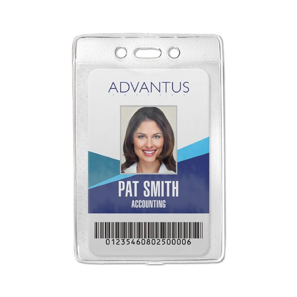 Advantus Security ID Badge Holder, Vertical, 3 3/8w x 4 1/4h, Clear, 50/Box