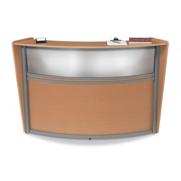 OFM OFM Marque Series Plexi Single-Unit Curved Reception Station, Maple