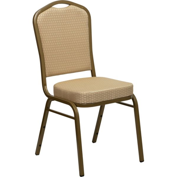 Flash Furniture HERCULES Series Crown Back Stacking Banquet Chair with Beige Patterned Fabric and 2.5'' Thick Seat - Gold Frame