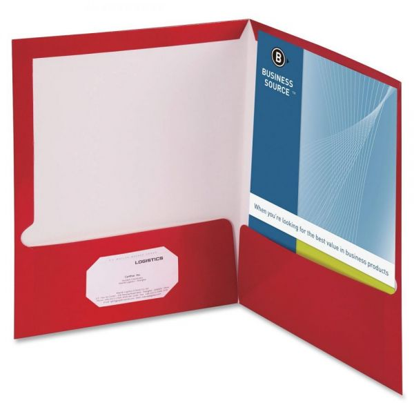 Business Source Laminated Two Pocket Folders