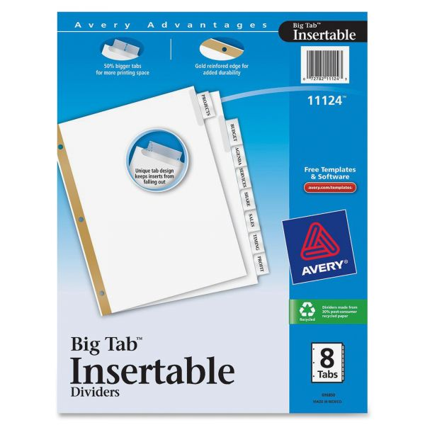 Avery Insertable Big Tab Dividers, 8-Tab, Clear Tab, Letter, 1 Set